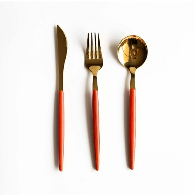 New Style Vintage Cutlery Set, Kitchen Gift Set Include Knife Fork Spoon, Wood Grain Handle, Rustproof Stainless Steel Dinnerware Tableware