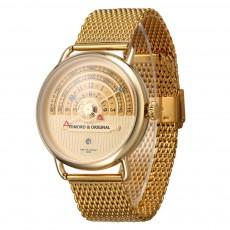 High-grade Full Gold Men's Watch Time Epoch Reincarnation Watch Creative New Concept Large Dial Gold Wristwatch
