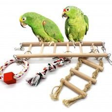 Multifunctional Wood Perch Climbing Ladder Wood Handing Bridge for Small Pet Birds