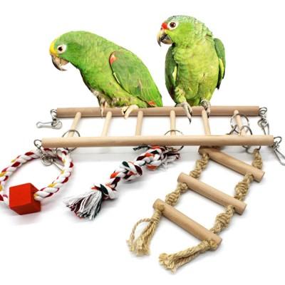 Multifunctional Wood Perch Climbing Ladder Wood Handing Bridge for Small Pet Birds