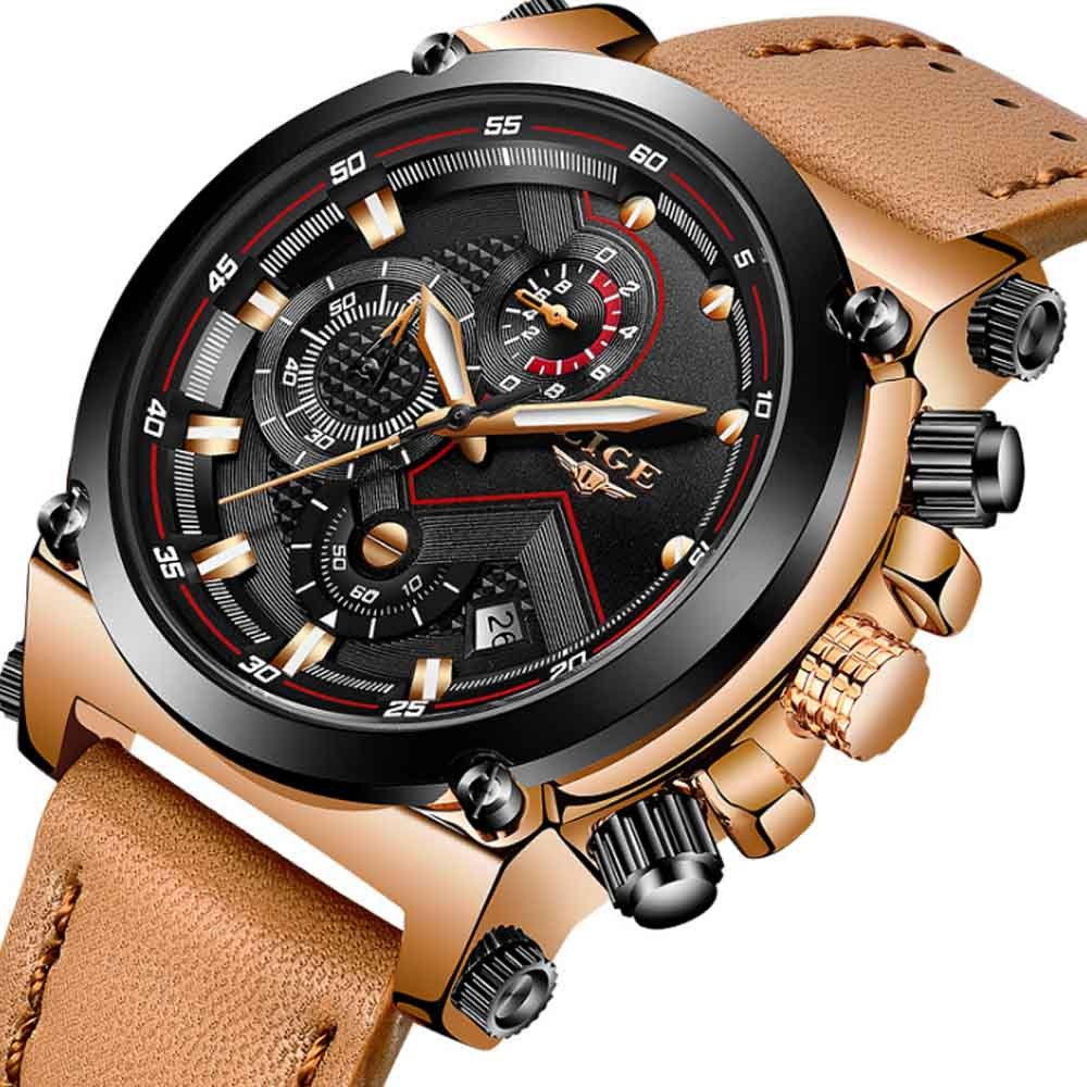 Men's Waterproof Watch Business Casual Sport Leather Analog Quartz Watch with Luminous Display