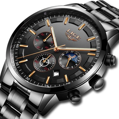 Mens Business Stainless Steel Wristwatch Waterproof Casual Quartz Watch with Luminous Date Chronograph
