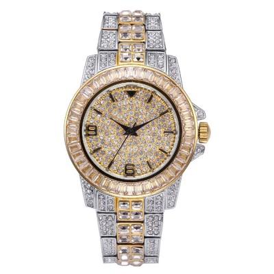 New Men Fashion Exquisite Waterproof Diamond Date Quartz Watch Gold Stainless Steel Business Luxury Mens Watches