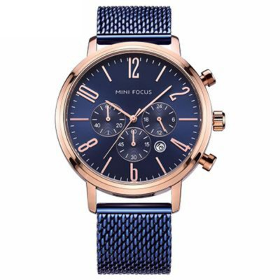 Multifunctional Smart Electronic Men Watch, Three Eyes & Six Stitches Calendar Waterproof Watch with Wear Resistant Crystal Watch Mirror