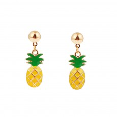 Retro Ethnic Style Ear Stud & Pendant & Necklace with Alloy Dripping Oil & Pineapple Pendant, Best Gift for Ladies