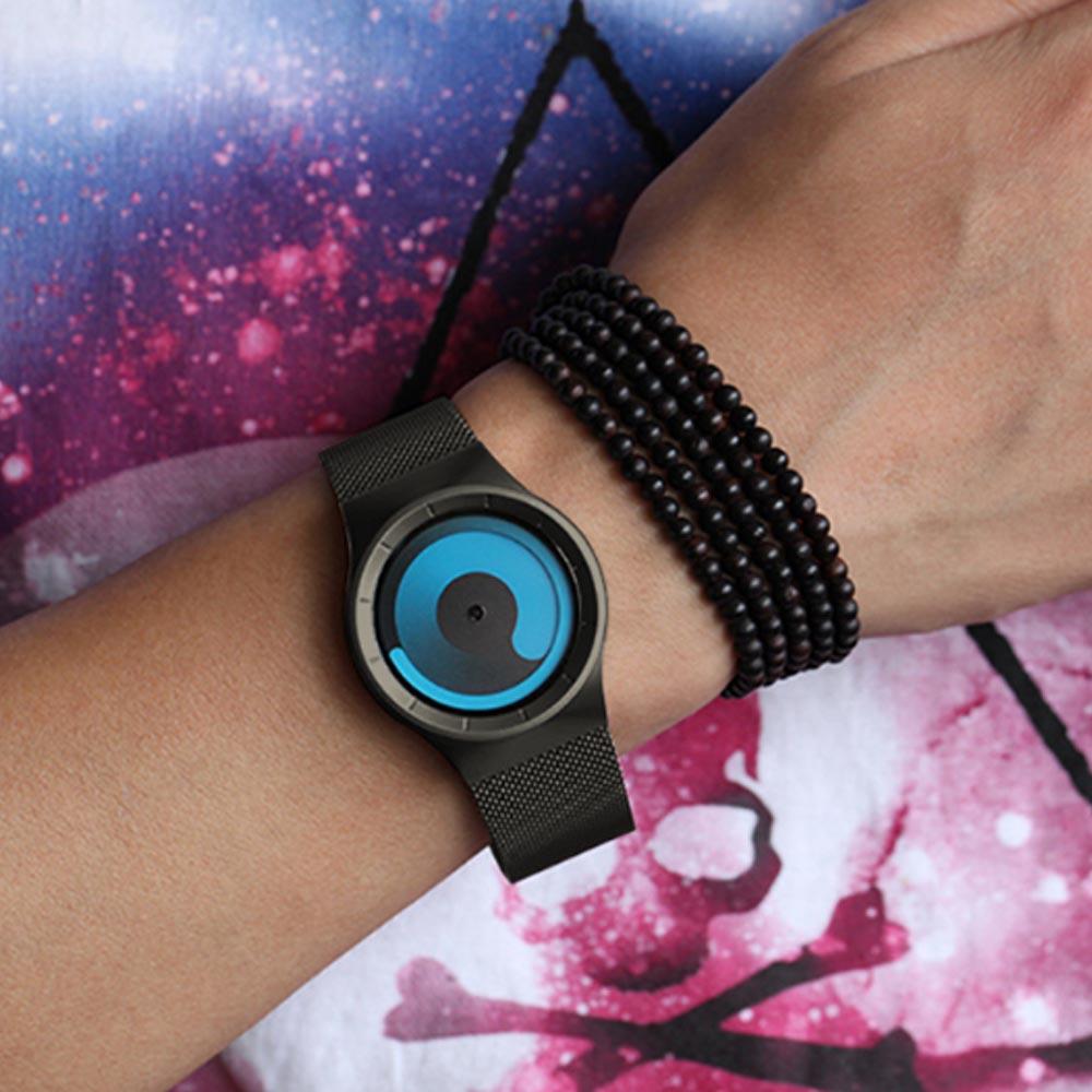 New Design Round Purple Swirl Dial Waterproof Steel Belt Male Watch Personality Fashion Men Sport Quartz Watch
