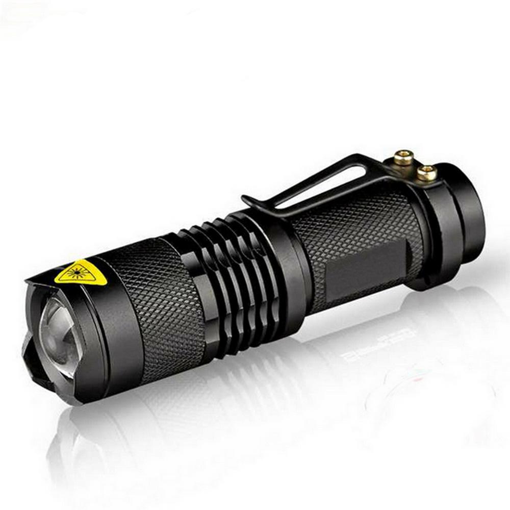 Waterproof LED Flashlight Q5 2000lm 3 Modes Zoomable Self Defense no tazer shock Mini Flash Light Torch Pen Light