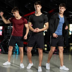 2019 Summer Men Sport Short Sleeve T-Shirt Permeable Fitness Wear Fast Dry Highly Elastic Top for Running Gym