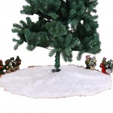Long Snow Plush Christmas Tree Skirt Non Wovens Cotton Golden Ruffle Edge Base Floor Mat Cover New Year Xmas Party Decoration
