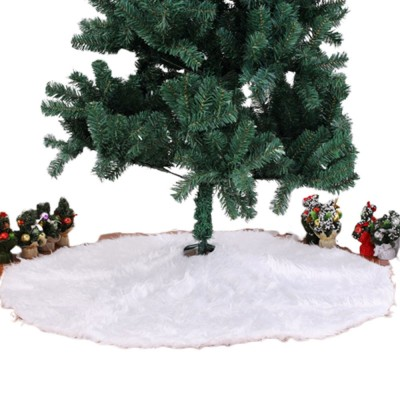 Long Snow Plush Christmas Tree Skirt Non Wovens Cotton Golden Ruffle Edge Base Floor Mat Cover New Year Xmas Party Decoration