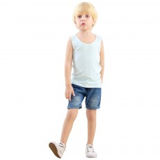Kids Sleeveless Tank Top Lightweight Round Neck Undershirts Seamless Modal Top for Boys Grils