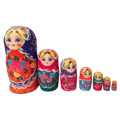 Matryoshka Dolls Nesting Stacking Wooden Russian Toys with Flower Ornament Hand Painted Wood Souvenir Folk Art Crafts
