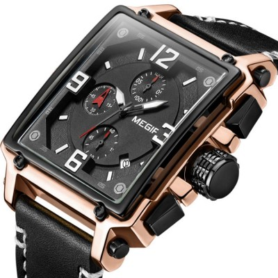 Retro Oblong Watch for Men with Quartz Movement and Leather Strap Waterproof Wrist Watch with Luminous Display