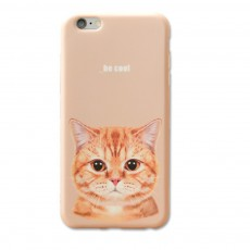 Mobile Phone Case with Orange Cat Pattern Design, Precise Audio Charging Hole Location Phone Shell for Apple iPhone 6/ 6s, 6s plus, 7, 7 plus