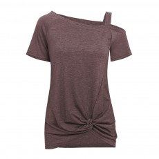 Minimalist Fashion Kink Decoration Off-Shoulder Women T-shirt, Ultra-soft Casual Pure Color Tops for Ladies