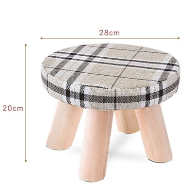 Pleasing Simple Fruit Patterns Footstool With Solid Wooden Legs Small Round Fabric Ottoman For Home Decoration Customarchery Wood Chair Design Ideas Customarcherynet