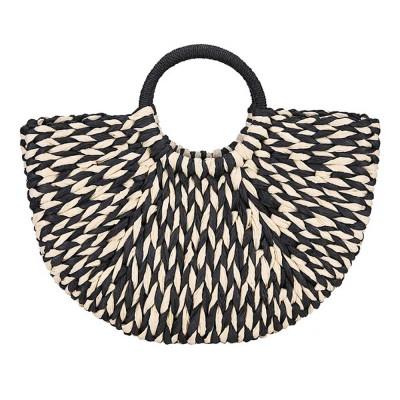 Fancy Elegant Contrast Colored Lady Straw Hand Bag, Minimalist Arch Vacation Beach Hand Bag for Women