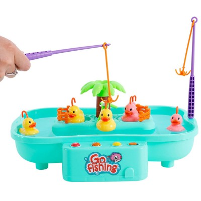 Rotation Ducks Toys Fishing Game with Music Play, Children Splashing Puzzle Game Parent-Children Interaction