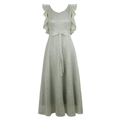 Long Chiffon Dress for 18-24 Years Girls Olive Green Backless Sequined Dress for Women Casual in Summer