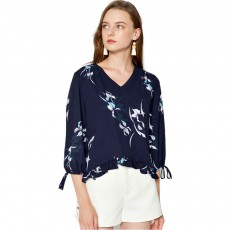 Fashion Navy Blue Printing Three Quarter Sleeves Women Tops, V-neckline Chiffon with Stringy Selvedge for Ladies