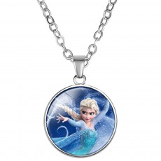 Fancy Disney Princesses Series Necklace for Girls, Elsa Mermaid Tangled Hua Mulan Carton Glass Pendant Necklace for Girl