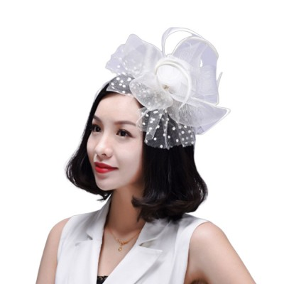 Fancy Flower Model Mesh Feather Decoration Hair Band, Delicate Evening Party Ladies Hair Decoration Ornament