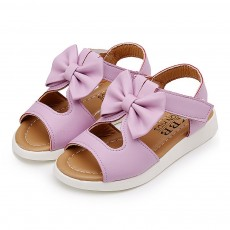 Lovely Stylish Children Girls Sandals with Bowknot Decoration Hollow Ultra-soft PU Leather Beach Shoes for Baby Girls