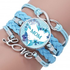 Stylish Fancy Family Mom Letters Decoration Bracelet, Multiple Layers Knitted Leather Cystal Hand Chain