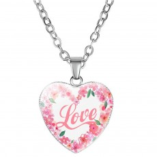 Elegant Fancy Hope Faith Dream Letters Decoration Necklace, Stylish Heart Shaped Roses Garland Ornamented Necklace for Ladies
