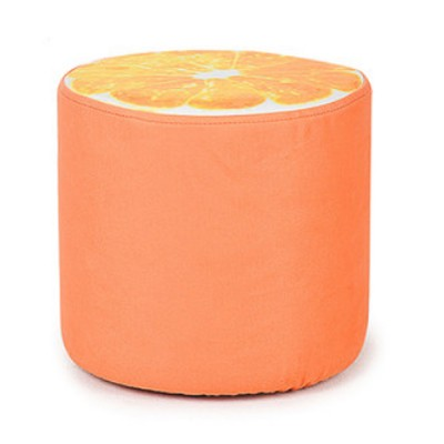 Wooden Round Footrest Stool with Rebound Sponge for Home Decoration Non-slip Sofa Stool Fruity Plush Stool Toys for Children