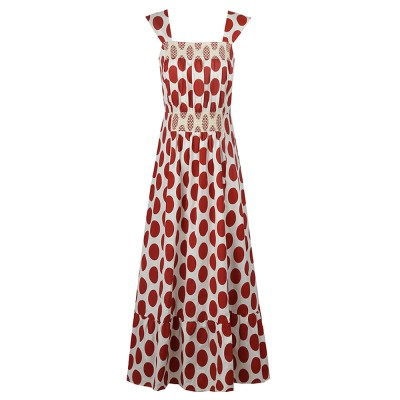 French Style Women's Casual Polka Dot Sleeveless Long Dress High Waist and Wide Boat Neck