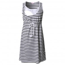 Contrast Colored Striped Maternity Dress, Pregnant Woman Cloth Nursing Dress with Drawstring Waist
