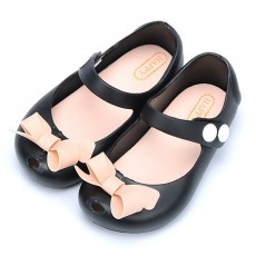 Cute Stylish Bowknot Decorative Soft Flexible PVC Rubber Children Girls Nude Beach Shoes with Snap Fastener