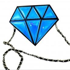 Creative Shiny Laser Diamond Model Lady Shoulder Bag, Heart Soft PU Leather Cross-body Bag for Women