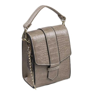 Minimalist Alligator Pattern Chain Lady Shoulder Bag, Skin-friendly PU Leather Small Handle Bag for Women