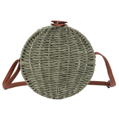 Simple Fancy Straw Shoulder Round Bag for Ladies, Beach Vacation Holiday National Style Women Shoulder Bag