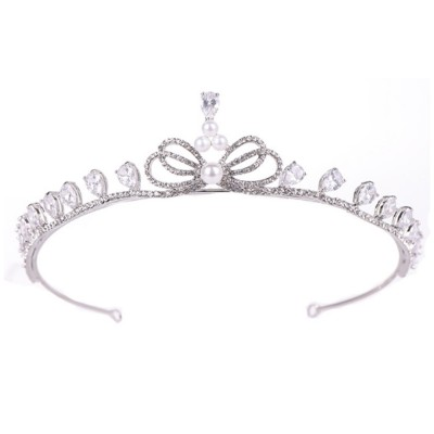 Fancy Delicate Artificial Pearl Rhinestone Decorative Crown, Evening Party Activity Baroque Style Children Hair Band for Girl