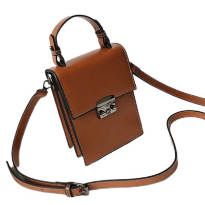 Minimalist Vintage Women Shoulder Slung Bag with Comfortable Handle Small Phone PU Leather Hand Bag for Ladies