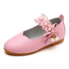 Cute Beautiful Lace Artificial Pearls Rhinestone Decorative Round Head Children Girls Soft PU Leather Nude Shoes with Magic Tape