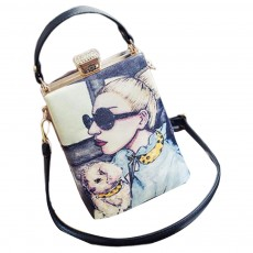 Fashion Painting Small Women Shoulder Bag with Comfortable Handle, Quality Smooth PU Leather Lady Bag