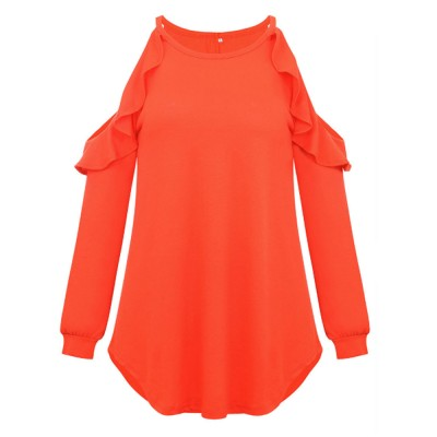 Stylish Falbala Decoration Off-the-Shoulder Women Tops, Soft Breathable Long Sleeves T-Shirt for Ladies