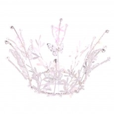 Child Elegant Fancy Artificial Pearl Beads Decorative Crown, Branches Butterflies Snowflake Model Hair Band for Girls