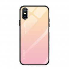 Stylish Minimalist Gradient Color Glass Phone Case Drop-Protection Creative Stained Glass Shell for iPhone XS MAX, XR, X, 7 Plug, 8 Plug, 6 6s Plug