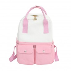 Fresh Style Backpack for Women and Girls with Handle and External Pockets Double Zipper Recreational Style Canvas Bag