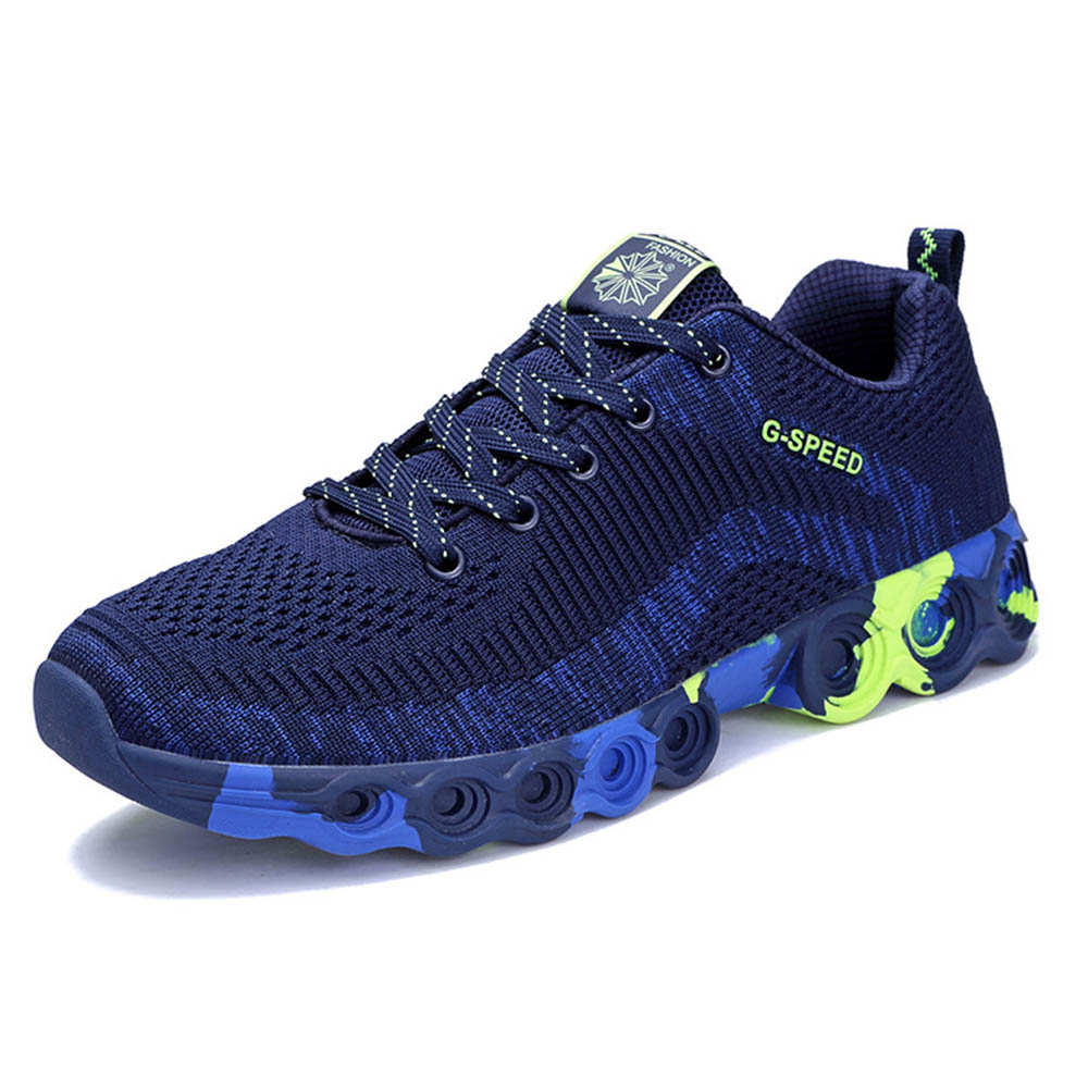 Fly-knit Sneakers for Men Concave Convex Texture Comfortable Lining Shock Absorption Rubber Sole Sports Shoes Spring and Summer