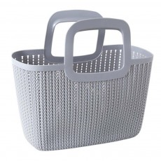 Rattan Appearance Hand Basket for Housewife Handle Design Multipurpose Higher Bottom Plastic Shopping Crate