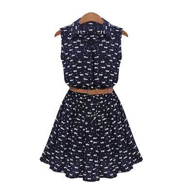 Navy Blue Print Dress for Women Lapel and Sleeveless Design Chiffon One-piece Elegant and Gorgeous Dress