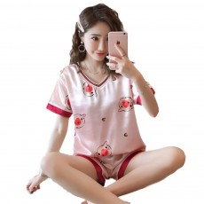 Summer V-neck Lady Silk-like Household Suit, V-neck Pullover Short-sleeved Shorts Pajamas