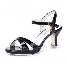 Minimalist Sexy Crossed Upper Chunky Heels Sandals, Ultra-soft Artificial Leather Peep Toe Sandals for Ladies