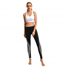 Simple Stylish Laser Stripes Decorative Sport Pants for Ladies Smooth Yoga Dance Exercise Fitness Pants